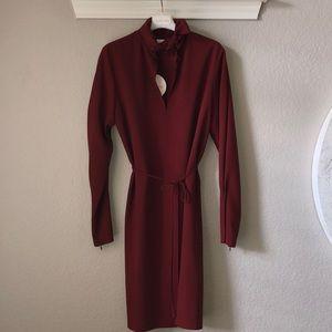 Maroon dress with zipper cuffs